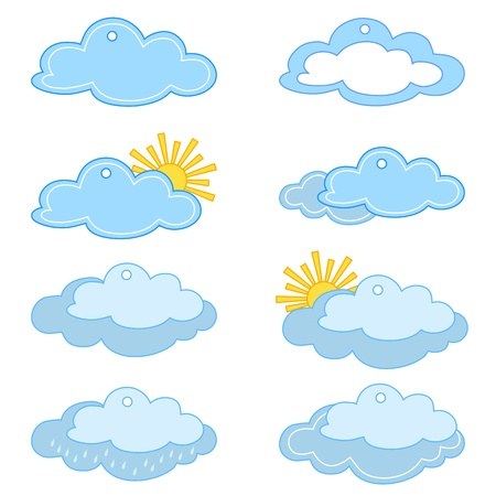 Set of labels - price tags with clouds and the sun, weather symbols Stock Vector - 9367751