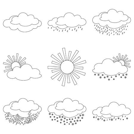clouds cartoon: Conjunto de iconos de clima de vector, ilustrando los diversos fen�menos naturales, contornos