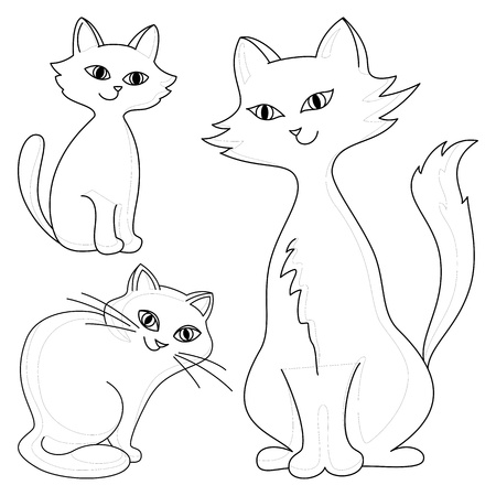 hair black color: Three kind cheerful domestic cats, vector monochrome contours