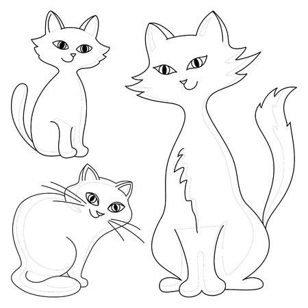 Three kind cheerful domestic cats, vector monochrome contours Stock Vector - 9421466