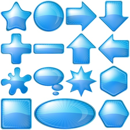 Set blue vector icons, buttons different forms photo