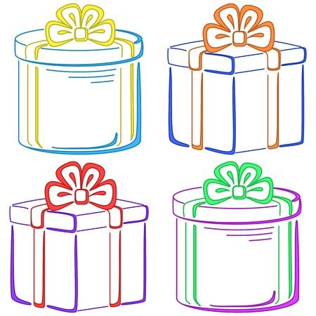 Set of gift celebratory boxes Stock Vector - 9444470