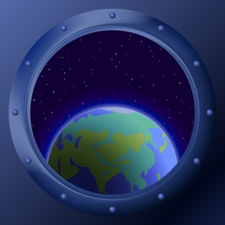 spacecraft: Spaceship window porthole with space: dark blue sky, planets mother Earth and stars Illustration