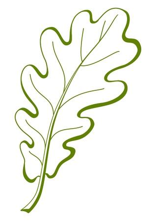 chene bois: Feuille de ch�ne, symbole de la nature, vecteur monochrome pictogramme isol�