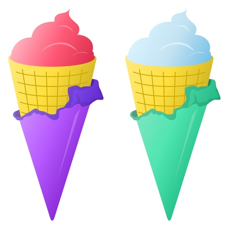 Sweet dessert, various ice-cream in a wafer cups, isolated Vector