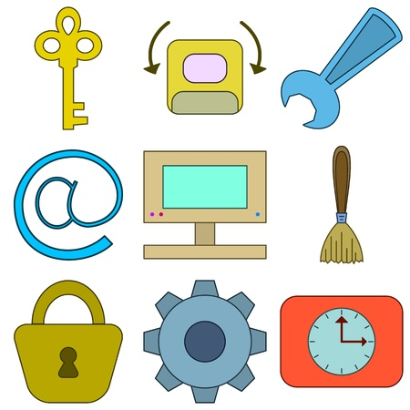 unblock: Set vector various icons, computer signs and button Illustration