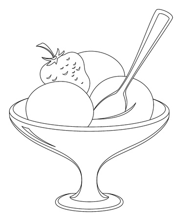 bowl of fruit: Ice cream and fruit in a vase with a spoon, monochrome contours
