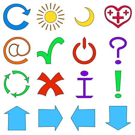 Set of various icons, computer signs and button Vector