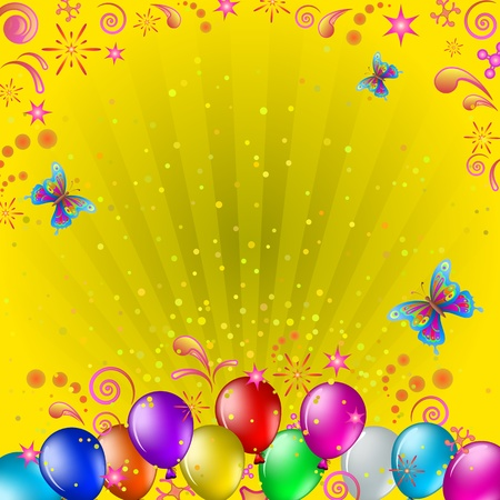 various coloured balloons, butterflies and confetti on gold background with beams Illustration