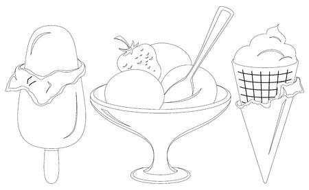 black and white cone: sweet dessert, various ice cream, monochrome contours on white