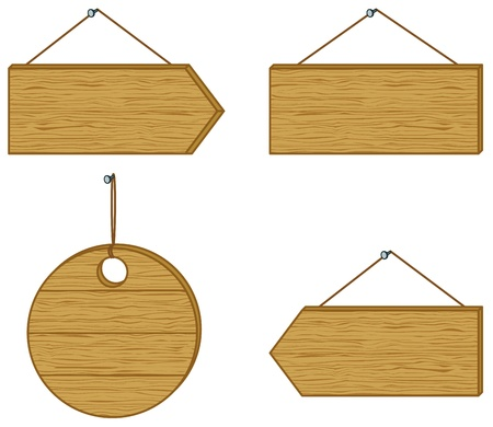indication:  set wood board signs isolated on white background