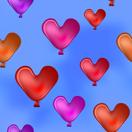 seamless background, red balloons - valentine hearts fly in the blue sky Vector