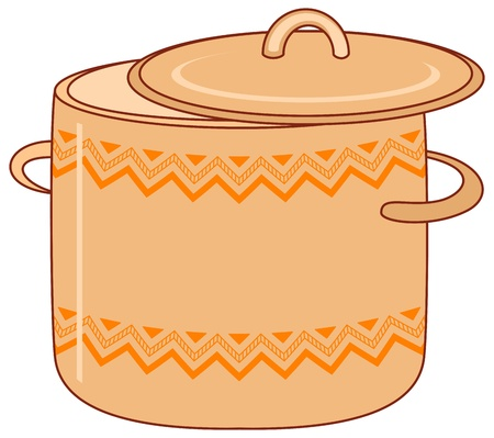 stew pot: Vector, kitchen utensil, orange spot with abstract graphic pattern