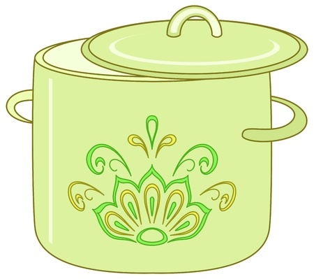 stew pot: kitchen utensil, green spot with an abstract floral pattern Illustration