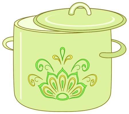 utensilios de cocina: terreno de utensilio, verde de cocina con un patr�n floral abstracto