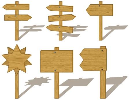 indicatore: Insieme di segni di bordo legno isolato su sfondo bianco