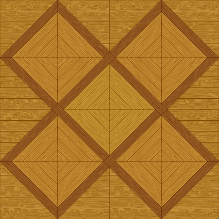 Wooden square brown parquet, seamless vector background Vector