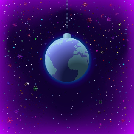 Symbolic background, planet Earth in space, as a Christmas decoration, vector Vector