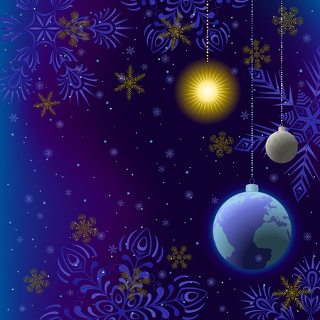 snowing: Symbolic background, snowflakes and celestial bodies in space, as Christmas balls. vector