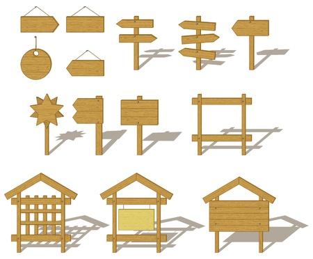 letreros: Vector, conjunto de signos y vallas de madera Junta