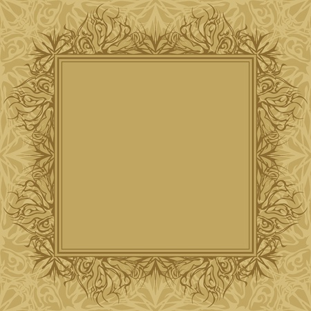 Brown background with frame and abstract graphic contour pattern. Vector Stock Vector - 10961785