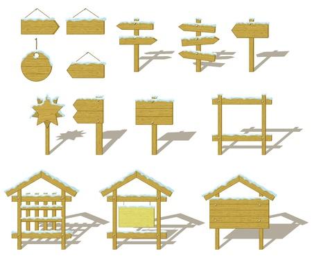 billboard blank: Set of wood board billboards and signs under winter snow. vector Illustration