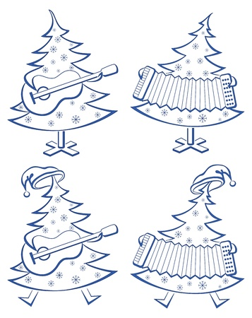 Christmas trees with guitar and accordion, pictograms set. Vector Vector