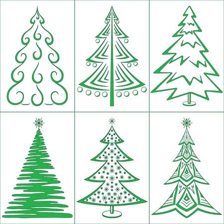 Christmas trees, winter holiday symbols, set isolated. Vector Vettoriali