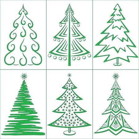 Christmas trees, winter holiday symbols, set isolated. Vector Vector