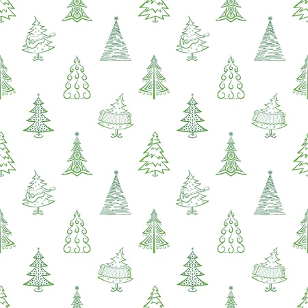 Christmas trees, winter holiday symbols, seamless background. Vector Vector