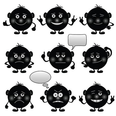 Set di faccine rotondo bianco e nero che simboleggia varie emozioni umane. Vettore Archivio Fotografico - 11256578