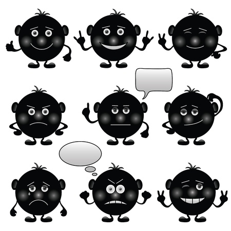 Set of round black and white smilies symbolising various human emotions. Vector Vector