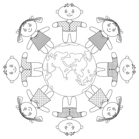 circle children: Bambini felici in piedi intorno alla Terra, tenendosi per mano e sorridendo, contorno. Vettore