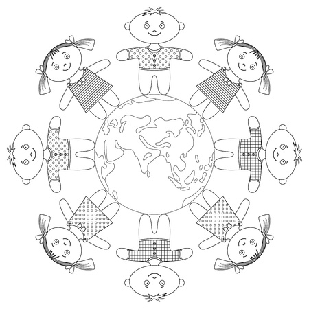 friendship circle: Happy children standing around Earth, holding hands and smiling, contour. Vector