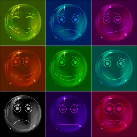 Set of various colored smileys soap bubbles eps10. Vector Vector