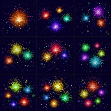 Set of various celebratory firework against black sky. Vector