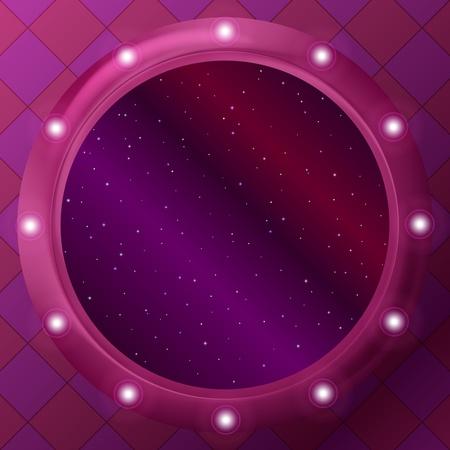 ventana ojo de buey: Resumen de fondo, el espacio de color rojo con las estrellas en ojo de buey de la ventana redonda. Vector Vectores