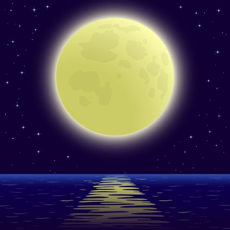 Background, night sea landscape, star sky and big bright moon. Vector Illustration