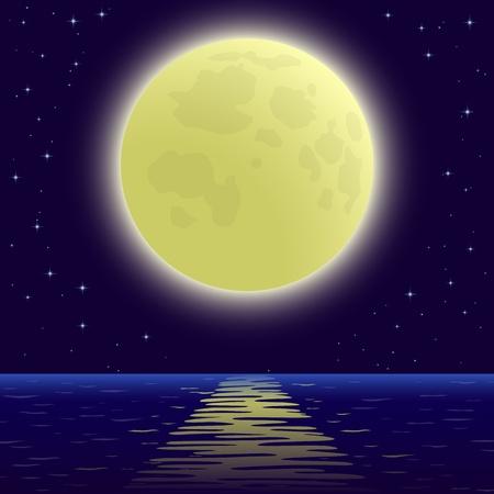 Background, night sea landscape, star sky and big bright moon. Vector Vettoriali