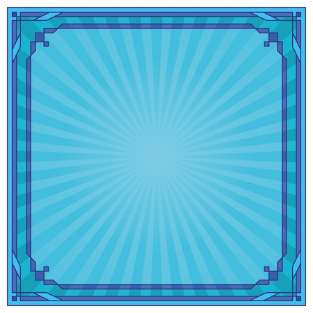 emanation: Abstract background with square symmetric frame, blue. Vector Illustration