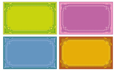 Set of labels, tags, business cards with abstract border pattern. Vector Vector