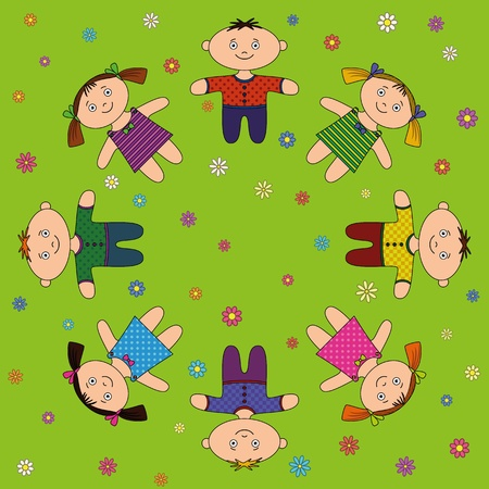 Children boys and girls resting, lying on flower green meadow. Vector Vector