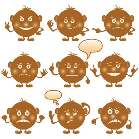 sad cartoon: Set of round brown smilies symbolising various human emotions. Vector