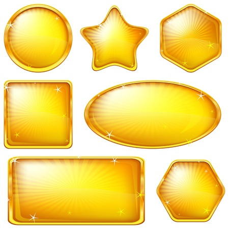 Set of web buttons of gold, different forms. Eps10: contains transparency. Vector photo