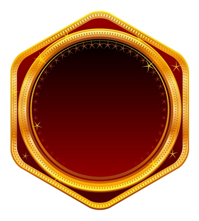 Ornate gold frame with red background.  Vector