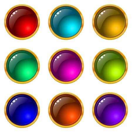 Set of web buttons with gems and golden frames. Eps10: contains transparency. Vector photo