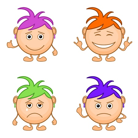 Sad teenager: Set of smilies girls with colored hair, symbolising various human emotions. Vector