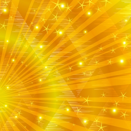 Abstract holiday background, gold beams, stars and triangles. Vector eps10, contains transparencies Stock Photo