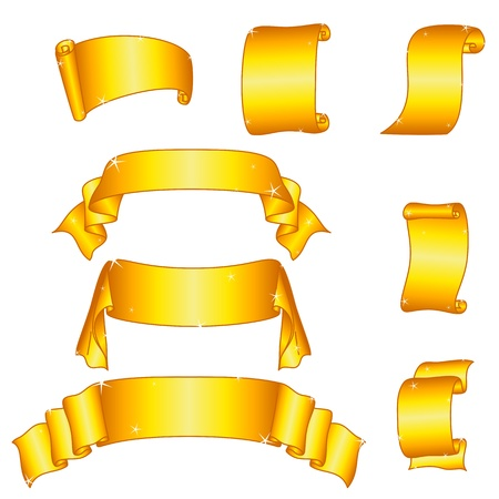 Set of shiny golden banners ribbons and scrolls.  Vector