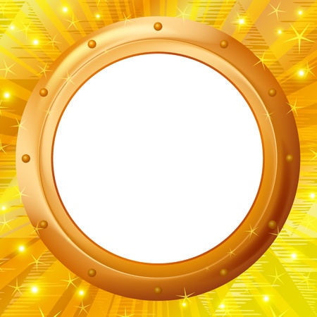 Abstract background, gold round frame - porthole on wall, Stock Vector - 12480216